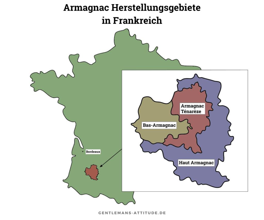Armagnac Herstellungsgebiete