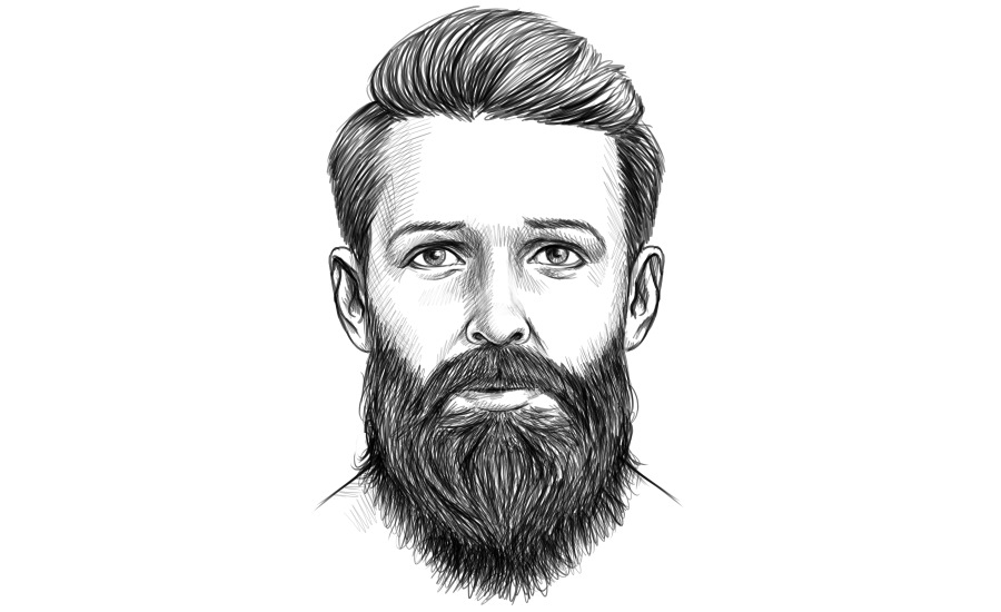 Hipster Bart ohne gezwirbelten Schnurrbart