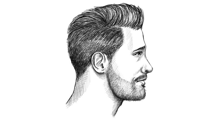 3-Tage-Bart seitliche Konturen