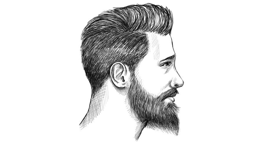 Ducktail Bart seitliche Konturen