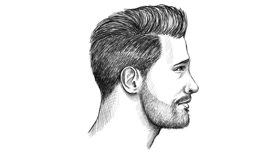 Leichter Übergang von Koteletten zum Bart