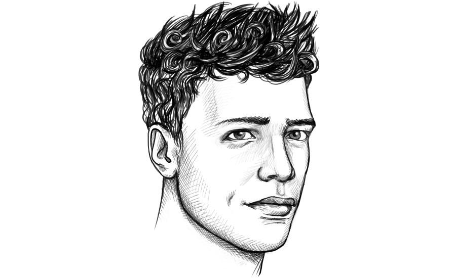 Dauerwelle beim Mann mit längeren Seiten