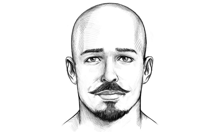 Mann mit Glatze und Anchor Bart