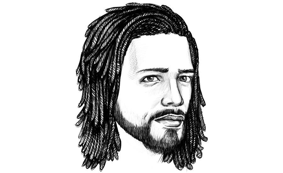 Man mit Dreadlocks und langen Haaren