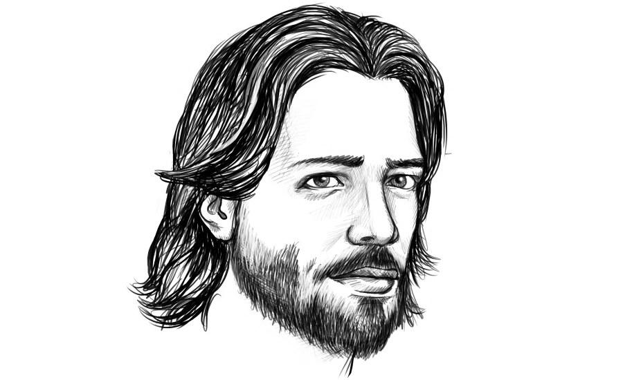 Mann mit offenen mittellangen Haaren