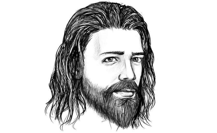 Mann mit langen offenen Haaren